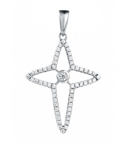 Rhodium CZ Star Fashion 925 Silver Jewelry Necklace FP20402A