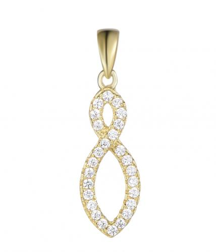 Yellow Gold CZ Infinity 925 Sterling Silver Necklace FP22108C