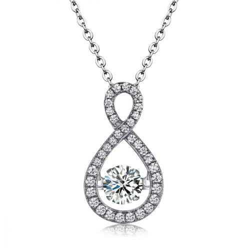 Rhodium CZ Infinity Dancing 925 Sterling Silver Necklace FP22607A