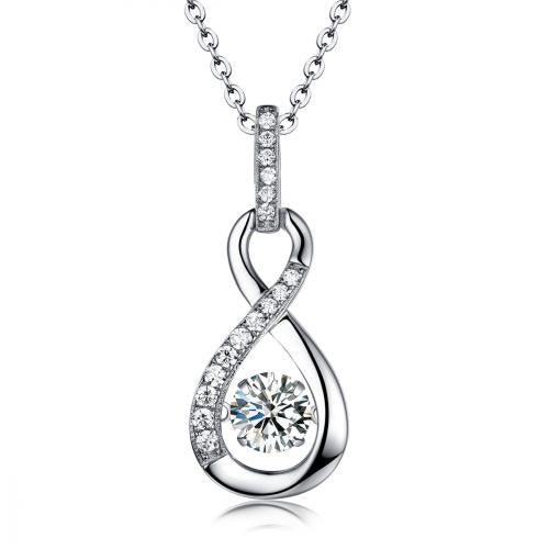 Rhodium CZ Infinity Dancing 925 Sterling Silver Necklace FP22609A