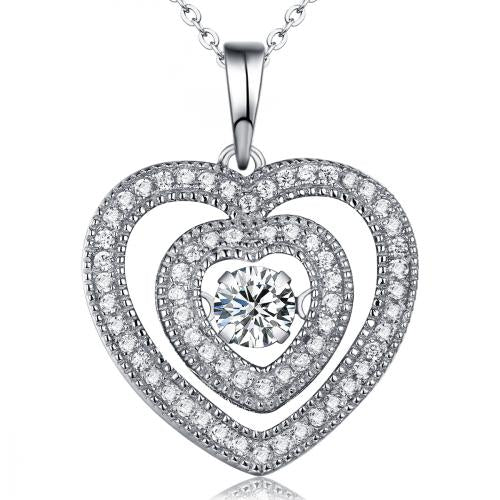 Rhodium CZ Heart Dancing 925 Silver Jewelry Necklace FP22703A