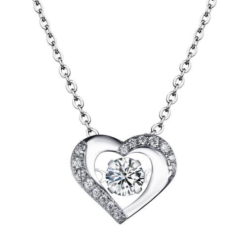 Rhodium CZ Heart Dancing 925 Silver Jewelry Necklace FP23106A