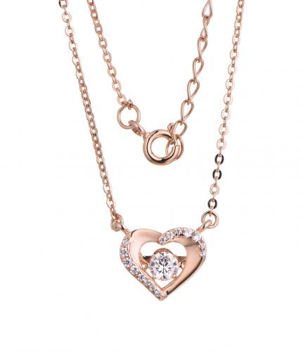 Rose Gold CZ Layered Heart Dancing 925 Silver Jewelry Necklace FP23106F