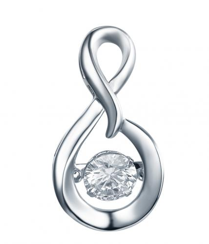 Rhodium CZ Infinity Dancing 925 Sterling Silver Necklace FP23300B