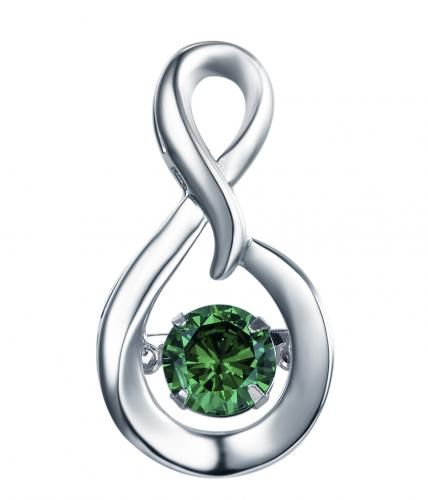 Rhodium Emerald Infinity Dancing 925 Sterling Silver Necklace FP23300E