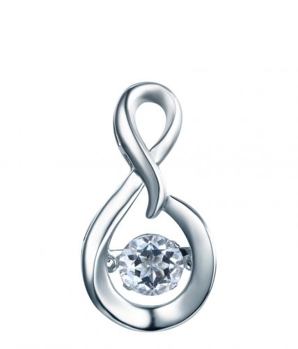 Rhodium Sapphire Infinity Dancing 925 Sterling Silver Necklace FP23300H