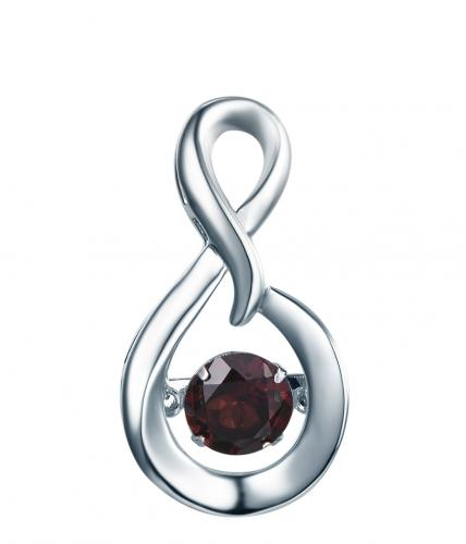 Rhodium Garnet Infinity Dancing 925 Sterling Silver Necklace FP23300I