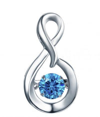 Rhodium Sapphire Infinity Dancing 925 Sterling Silver Necklace FP23300N