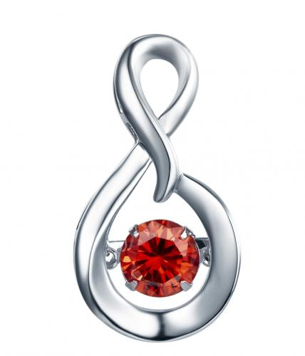 Rhodium Ruby Infinity Dancing 925 Sterling Silver Necklace FP23300O