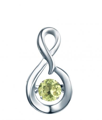 Rhodium Peridot Infinity Dancing 925 Sterling Silver Necklace FP23300S