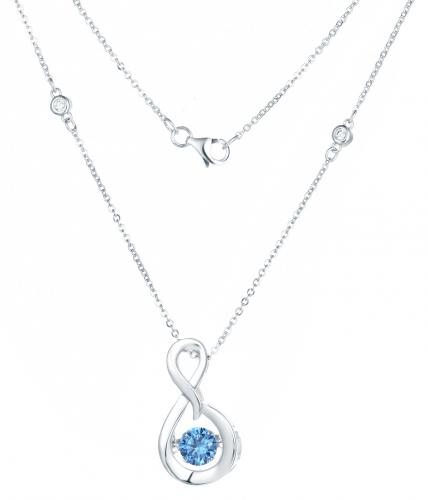 Rhodium Sapphire Layered Infinity Dancing 925 Sterling Silver Necklace FP23300U