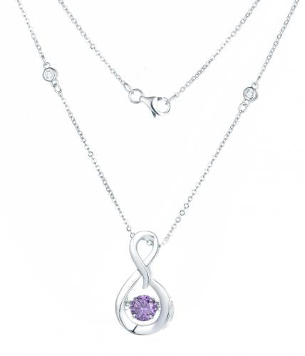Rhodium Amethyst Layered Infinity Dancing 925 Sterling Silver Necklace FP23300V