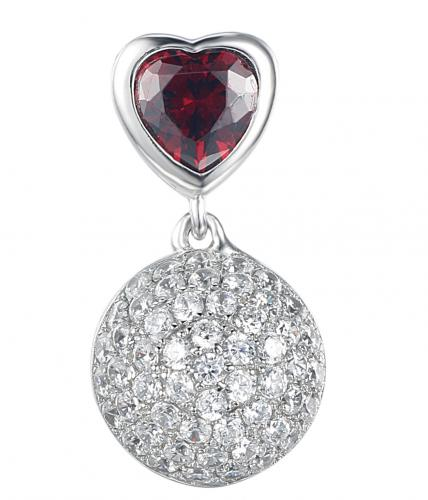 Rhodium Garnet Ball 925 Sterling Silver Necklace FP23401A