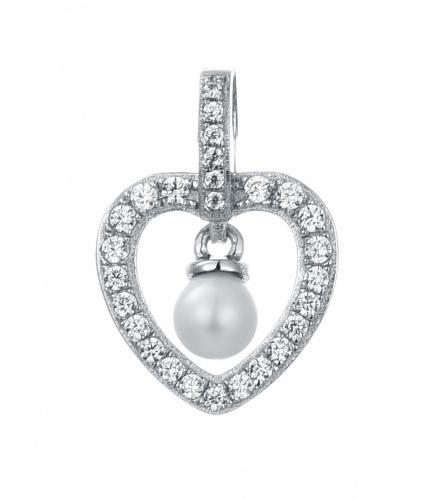 Rhodium Pearl Heart 925 Sterling Silver Necklace FP25209A