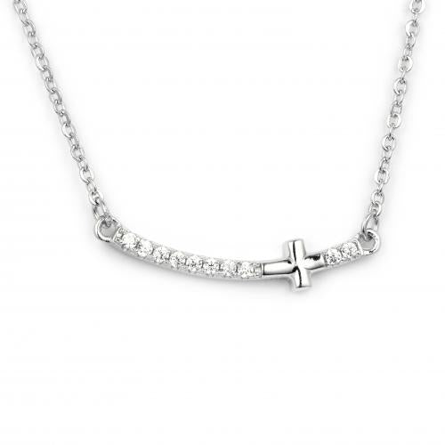 Rhodium CZ Cross 925 Sterling Silver Necklace FP25705A