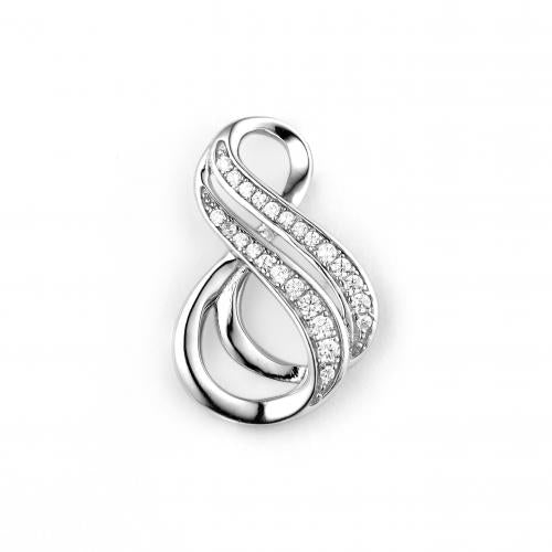 Rhodium CZ Infinity 925 Sterling Silver Necklace FP25903A