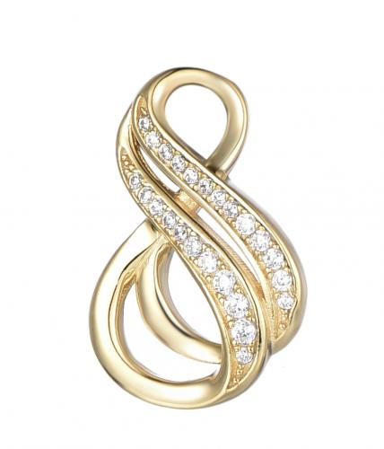 Yellow Gold CZ Infinity 925 Sterling Silver Necklace FP25903C