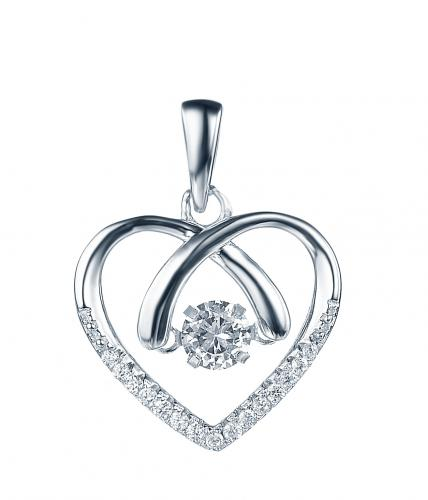 Rhodium CZ Heart Dancing 925 Silver Jewelry Necklace FP26908A