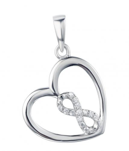 Rhodium CZ Heart 925 Sterling Silver Necklace FP27003A