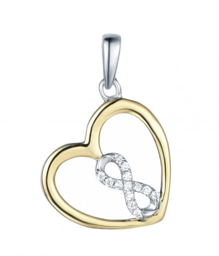 Yellow Gold CZ Heart 925 Sterling Silver Necklace FP27003B