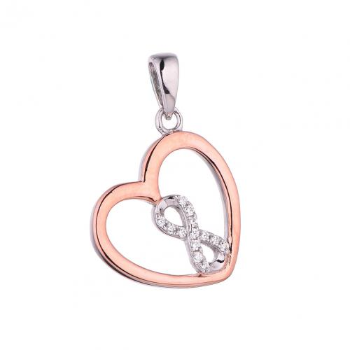 Rose Gold CZ Heart 925 Sterling Silver Necklace FP27003C