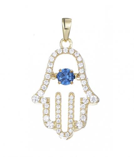 Rhodium Sapphire Hamsa Dancing Fashion 925 Sterling Silver Necklace FP27005C