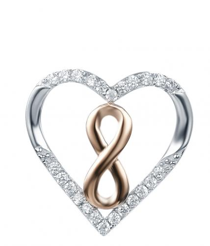 Rose Gold CZ Heart 925 Sterling Silver Necklace FP27006A