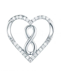 Rhodium CZ Heart 925 Sterling Silver Necklace FP27006B