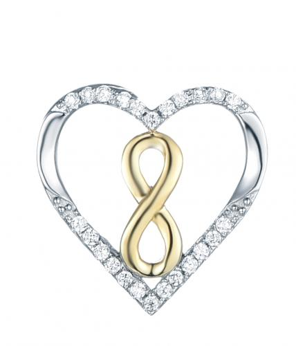 Yellow Gold CZ Heart 925 Sterling Silver Necklace FP27006C