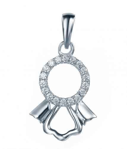 Rhodium CZ Character 925 Sterling Silver Necklace FP27205A
