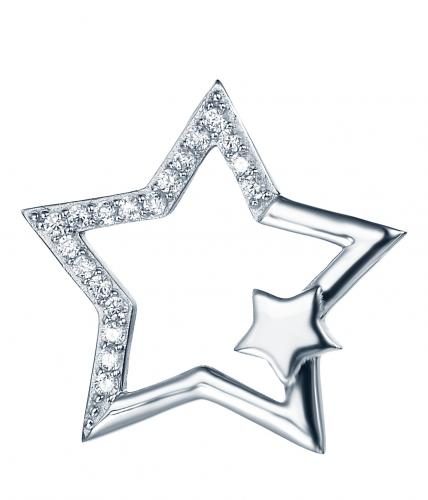 Rhodium CZ Star Fashion 925 Sterling Silver Necklace FP27208A