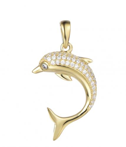 Yellow Gold CZ Dolphin Animal 925 Sterling Silver Necklace FP27304B
