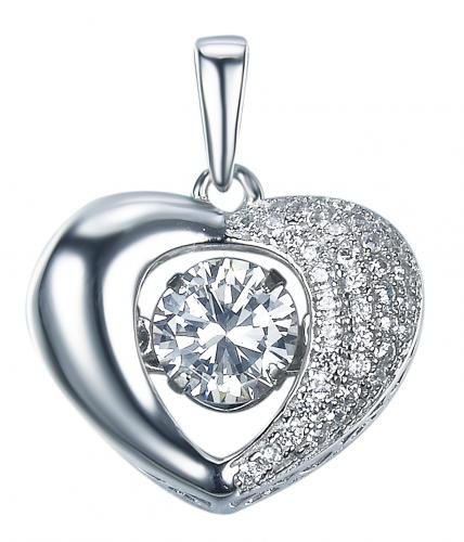 Rhodium CZ Heart Dancing 925 Silver Jewelry Necklace FP27306A
