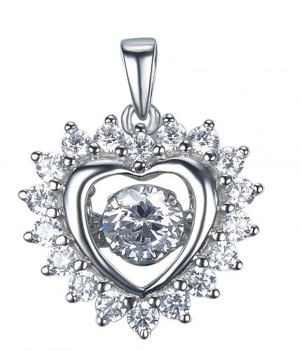 Rhodium CZ Heart Dancing 925 Silver Jewelry Necklace FP27307A