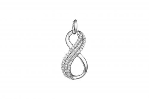 Rhodium CZ Infinity 925 Sterling Silver Necklace FP27502B