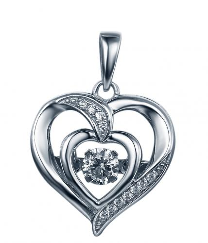 Rhodium CZ Heart Dancing 925 Silver Jewelry Necklace FP27605A