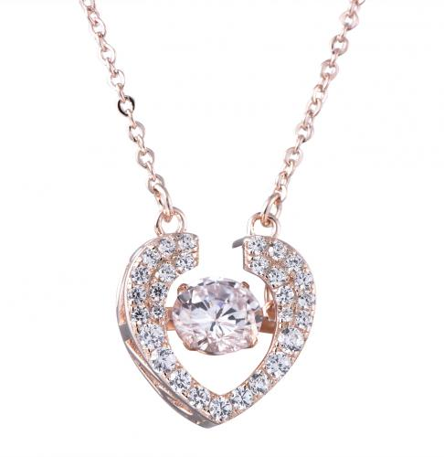 Rhodium CZ Heart Dancing 925 Silver Jewelry Necklace FP27805C