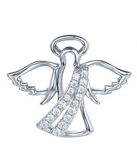 Rhodium CZ Angel Fashion 925 Sterling Silver Necklace FP27901A