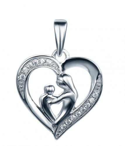 Rhodium CZ Heart 925 Sterling Silver Necklace FP28004A
