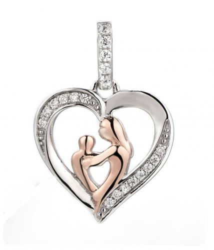 Rose Gold CZ Heart 925 Sterling Silver Necklace FP28004C