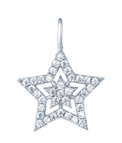 Rhodium CZ Star Fashion 925 Sterling Silver Necklace FP28301A