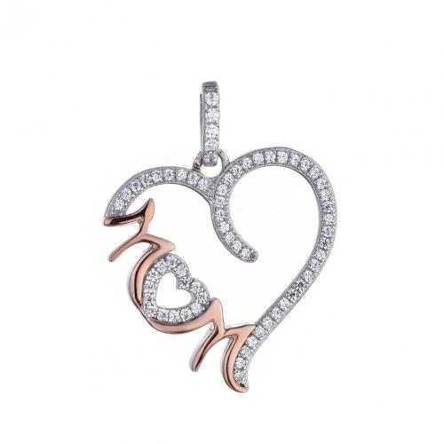 Rose Gold CZ Heart 925 Sterling Silver Necklace FP29303D