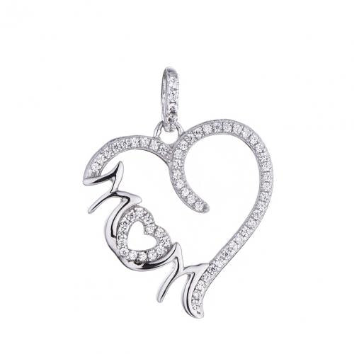 Rhodium CZ Heart 925 Sterling Silver Necklace FP29303E