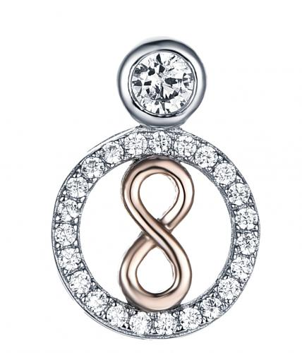 Yellow Gold CZ Fashion Circle Fashion 925 Sterling Silver Necklace FP29400A