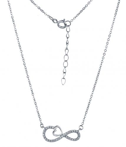 Rhodium CZ Layered Infinity 925 Sterling Silver Necklace FP29402A