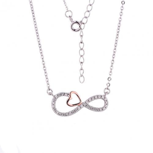 Rose Gold CZ Layered Infinity 925 Sterling Silver Necklace FP29402E