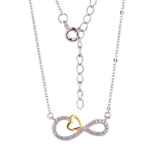 Yellow Gold CZ Layered Infinity 925 Sterling Silver Necklace FP29402F