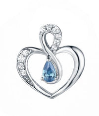 Rhodium Sapphire Heart 925 Sterling Silver Necklace FP48707A