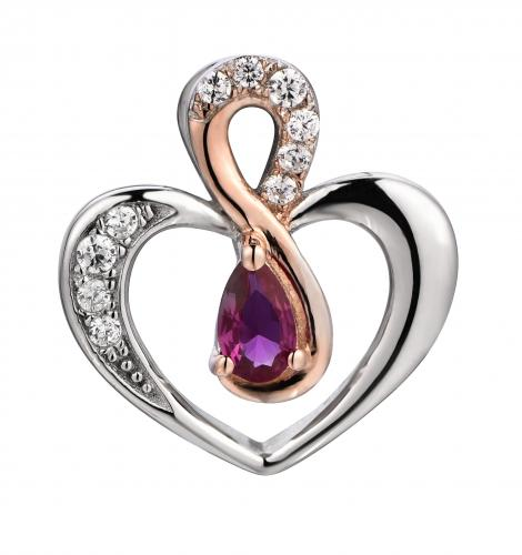 Rose Gold Ruby Heart 925 Sterling Silver Necklace FP48707C