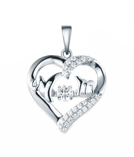 Rhodium CZ Heart Dancing 925 Sterling Silver Necklace FP48901A